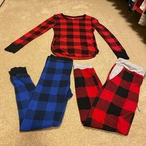 Red Blue Plaid Pajamas Lounge Wear Small/S